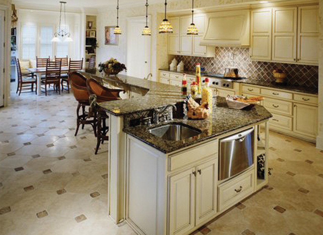 Large floor tiles for kitchen